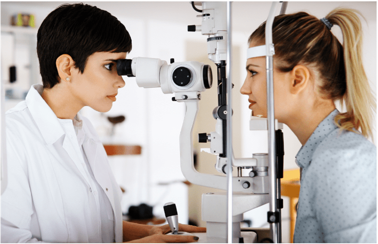 Woman getting an eye examination